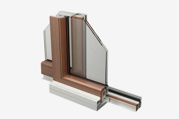 LM70 aluminum-wood sliding doors
